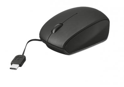 Trust Retractable USB optikai fekete mini egér (20969)
