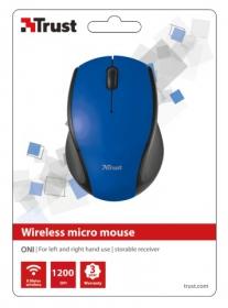 Trust Oni wireless optikai kék-fekete micro egér (21049)