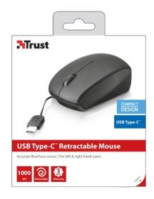 Trust Yvi Retractable USB optikai mini fekete-szürke egér (19651)