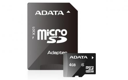 ADATA Micro SDHC 4 GB  Class 4 memóriakártya + SDHC Adapter (AUSDH4GCL4-RA1)