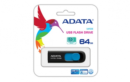 Adata USB Memory DashDrive UV128 64GB Fekete-Kék (AUV128-64G-RBE)