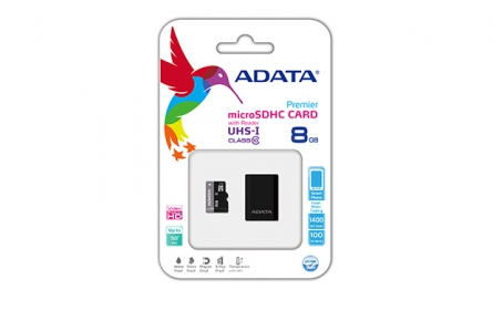 ADATA Micro SDHC 8GB CLass10 kártya + SDHC Adapter (AUSDH8GUICL10-RA1)