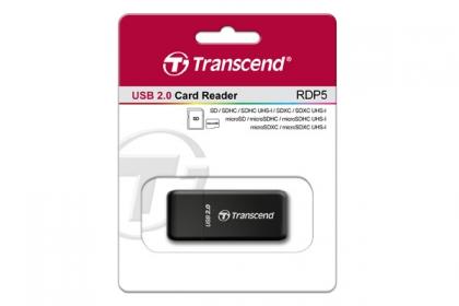 Transcend SDHC és micro SDHC memóriakártya olvasó Fekete (TS-RDP5K)