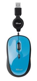 Trust Yvi Retractable USB optikai mini kék-fekete egér (19653)
