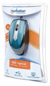 Manhattan MO1 Mini  USB optikai metálkék egér (177955)