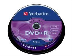 VERBATIM DVDV+16B10 4.7GB 16x 10 db-os írható  DVD+R lemez hengerben