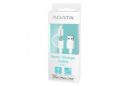 ADATA adat- és töltő 2-in-1 Lightning kábel 1m fehér (AMFI2IN1-100CM-CWH)