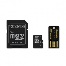 Kingston 8 GB Multi Kit /Class 10 microSD memóriakártya + SD adapter + USB olvasó/ (MBLY10G2/8GB)