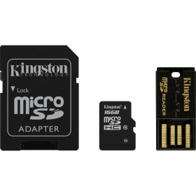Kingston 16 GB Multi Kit /Class 10 microSD memóriakártya + SD adapter + USB olvasó/ (MBLY10G2/16GB)