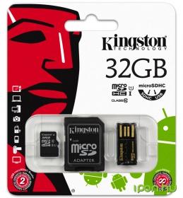 Kingston Micro SDHC 32GB Class 10 memóriakártya + USB2.0 olvasó + SD Adapter (MBLY10G2/32GB)