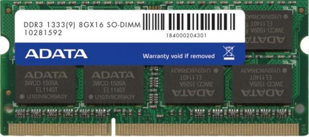 ADATA DDR3 8GB 1333MHz CL9 SODIMM 1.5V (AD3S1333W8G9-R)