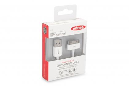 Ednet 31001 Apple Adat- és töltőkábel 0.5m Fehér