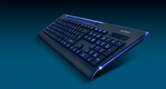 A4-Tech KD-800L USB kék ledes magyar fekete billentyűzet