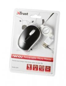 Trust Nanou Retractable USB optikai fekete egér (16850)