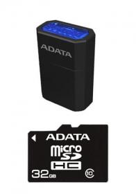 ADATA Micro SDHC 32GB CLASS10 memóriakártya + Mikro olvasó Kék LED (AUSDH32GCL10-RM3BKBL)