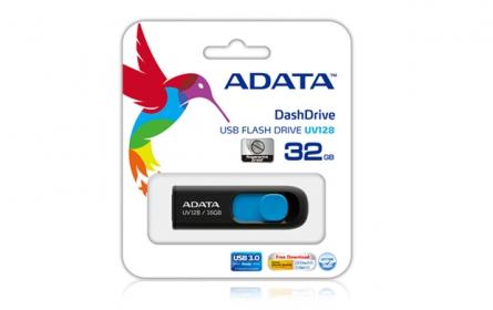 Adata USB Memory DashDrive UV128 32GB Fekete-Kék (AUV128-32G-RBE)