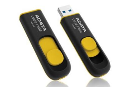 Adata USB Memory DashDrive UV128 16GB Fekete-Sárga (AUV128-16G-RBY)