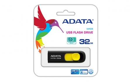 Adata USB Memory DashDrive UV128 32GB Fekete-Sárga (AUV128-32G-RBY)