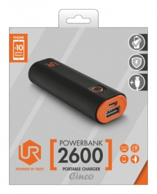 Trust Cinco  2600 Portable Charger fekete-narancs PowerBank (20492)