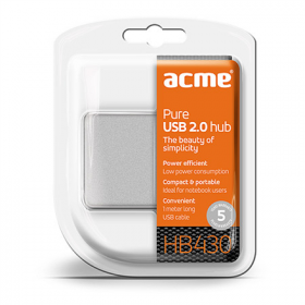 ACME HB430 Pure 4 portos ezüst-fehér USB Hub (ACUHB430)