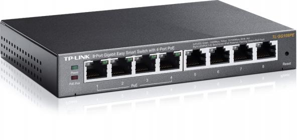 TP-LINK TL-SG108PE 8 portos gigabites Easy Smart Switch 4 PoE csatlakozóval