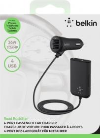 Belkin F8M935BT06-BLK fekete 4 USB portos szívargyújtó töltő