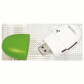 LogiLink ''Smile'' USB 2.0 Multi kártyaolvasó, zöld (CR0030)