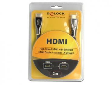 Delock kábel magas sebességű HDMI Ethernettel A-A egyenes/egyenes (82737)