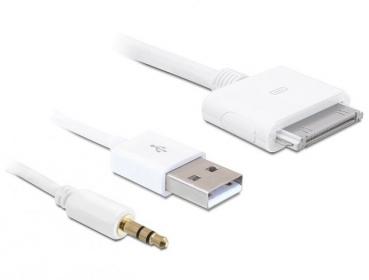 Delock kábel IPhone > USB 2.0 + Audio 3.5mm, RCA (83142)
