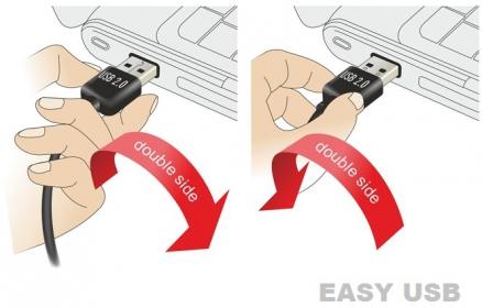 Delock EASY-USB 2.0 -A apa hajlított > USB 2.0-B apa kábel (83375)