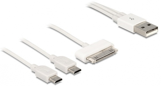 Delock USB multi töltőkábel 1 x 30 Pin App / Sams, 2 x Micro USB (83420)