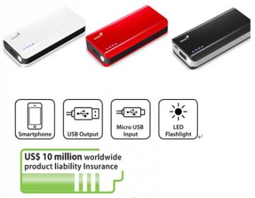 Genius ECO-u622 6000mAh piros-fehér PowerBank (39800011103)