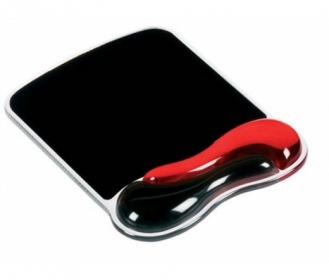 Kensington Crystal Wave géltöltésű csuklótámaszos piros-fekete egérpad (62402)