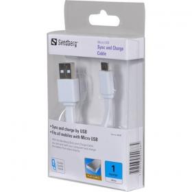 Sandberg KS088 1m csavarodásmentes microUSB - USB kábel