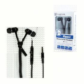 LogiLink ''Zippzár'' mikrofonos fülhallgató, fekete (HS0021)