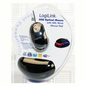 Logilink USB-s Optikai egér géles csuklótámaszos egérpaddal (ID0039)