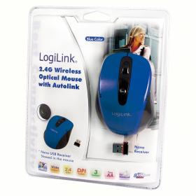 Logilink ID0046 wireless optikai fekete-kék egér