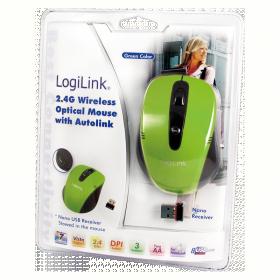 Logilink ID0048 wireless optikai zöld-fekete egér