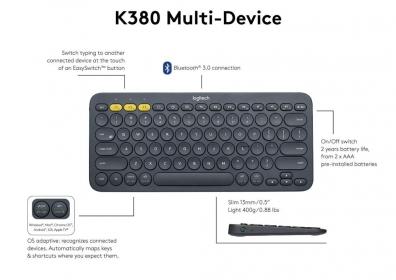 Logitech K380 Multi-Device bluetooth angol billentyűzet (920-007582)