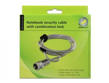 Navilock notebook biztonsági kábel, 4 számjegyű számkombinációs zárral (20643)