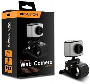 Canyon CNE-CWC2 USB mikrofonos fekete-ezüst webkamera