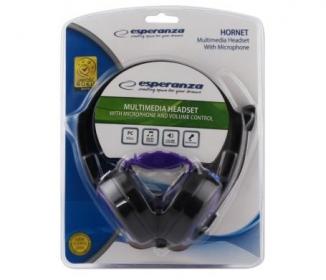 ESPERANZA HORNET lila-fekete mikrofonos fejhallgató (EH153V)