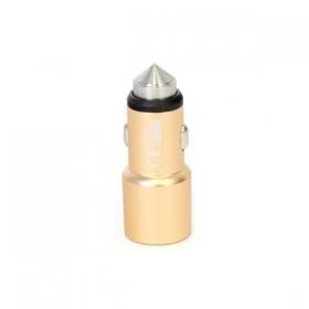 OMEGA USB autós töltő, 2 portos, 2.1A, arany (OUCC2MG)