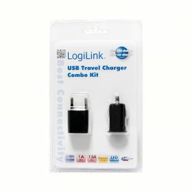 LogiLink USB töltő szett (autós + hálózati), PA0076