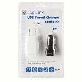 LogiLink PA0109 USB (hálózati + autós) töltő szett (PA0109)