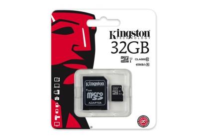 Kingston Class10 Micro SDHC 32GB Memóriakártya (SDC10G2/32GB) + adapter