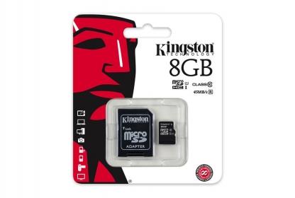 Kingston 8GB SDHC Class 10 memóriakártya+ adapter (SDC10G2/8GB)