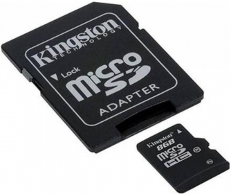 Kingston 8GB SDHC Class 10 memóriakártya+ adapter (SDC10G2/8GB)