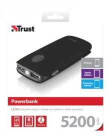 Trust Leon 5200 Portable Charger Fekete PowerBank (20381)