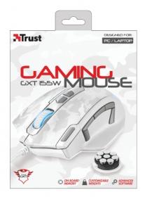 Trust GXT 155W USB optikai fehér-szürke gamer egér (20852)